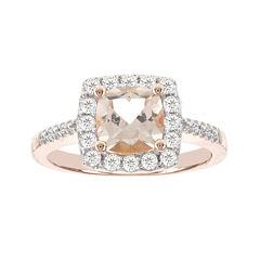 Blooming Bridal Genuine Cushion-Cut Morganite and Diamond 14K Rose Gold Ring