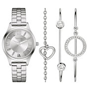 Caravelle New York® Womens Crystal Heart Bangle Watch Set