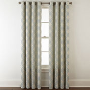 JCPenney Home Teagan Grommet-Top Geometric Curtain Panel