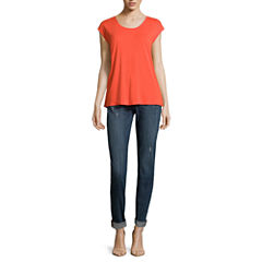 Liz Claiborne® Extended Shoulder Butterfly Tee or City Fit Skinny Boyfriend Jeans