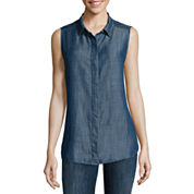 Liz Claiborne® Sleeveless Chambray Cotton Shirt