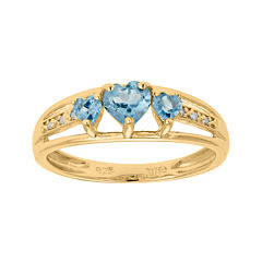 Genuine Blue Topaz and Diamond-Accent 3-Stone Heart Ring
