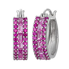 Lab Created Pink Sapphire & Lab Created Ruby Sterling Silver Earrings