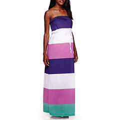 Maternity Strapless Striped Maxi Dress-Plus