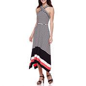 Robbie Bee® Sleeveless Cross Neck Stripe Maxi Dress