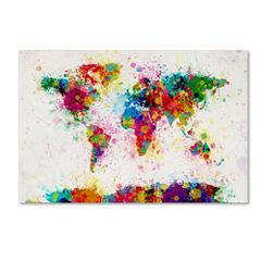 Paint Splashes World Map Canvas Wall Art