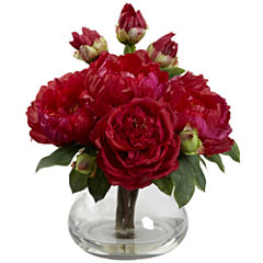 Nearly Natural Peony & Rose With Vase