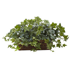 Nearly Natural Puff Ivy with Ledge Basket