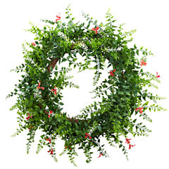 "18"" Floral & Fern Double Ring Wreath With Twig Base"
