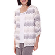 Alfred Dunner® Acadia 3/4-Sleeve Textured Layered Top