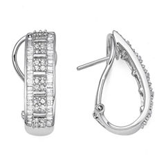 1 CT. T.W. Diamond 10K White Gold J-Hoop Earrings