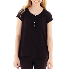 Olsenboye® Short-Sleeve Solid Knit High-Low Tunic