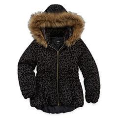 by&by Leopard Fleck Puffer Jacket - Girls
