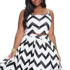 Fashion To Figure Summer Chevron Print Knit Crop Top-Plus