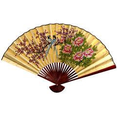 Oriental Furniture Gold Leaf Love Birds Fan Wall Sign