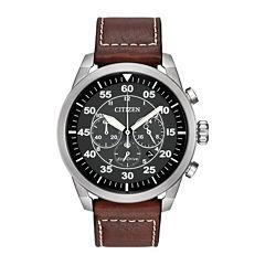 Citizen® Eco-Drive® Avion Mens Brown Leather Strap Chronograph Watch CA4210-24E