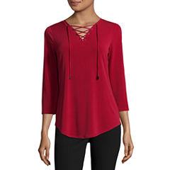 Worthington 3/4 Sleeve V Neck T-Shirt-Womens