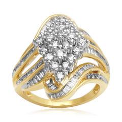 2 CT. T.W. Diamond Cluster 10K Yellow Gold Swirl Ring