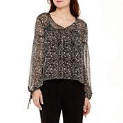 Olsenboye® Long-Sleeve Boho Striped Chiffon Blouse