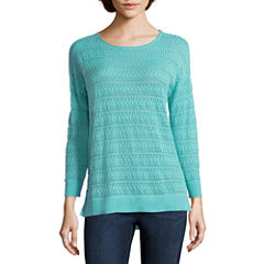 St. John's Bay® 3/4-Sleeve Pointelle Sweater - Tall