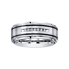 Mens Channel-Set Diamond Ring in Stainless Steel