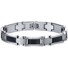 Men's Polished Tungsten & Carbon Fiber Bracelet