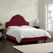 Belfort Upholstered Velvet Arched Tufted Bed