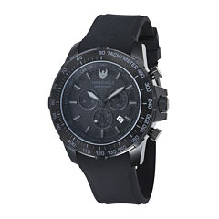 Swiss Eagle® Herzog Mens Black Bezel Black Silicone Strap Chronograph Watch SE-9065-06