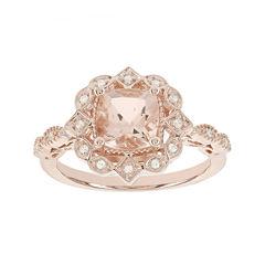 Blooming Bridal Genuine Morganite and Diamond-Accent 14K Rose Gold Ring