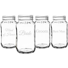Cathy's Concepts Set of 4 Wedding Party Glass Mason Jars