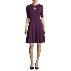 Danny & Nicole® Elbow-Sleeve Textured Knit Fit-and-Flare Dress
