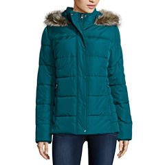 St. John's Bay® Faux-Fur Trim Puffer Coat - Tall