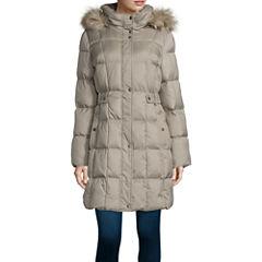 Liz Claiborne® Sidetab Puffer with Fur Collar