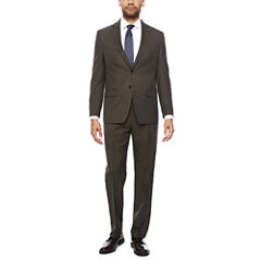 Collection by Michael Strahan Brown Sharkskin Classic Fit Suit Separates