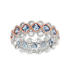 Womens Lab Created Blue Aquamarine Sterling Silver Band