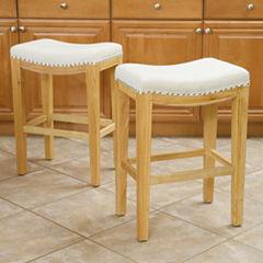 Waylan Set of 2 Backless Saddle Barstools with Nailhead Trim