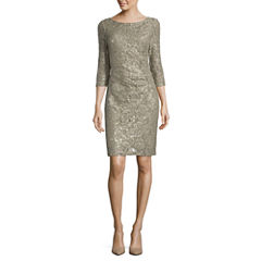 Scarlett 3/4-Sleeve Sparkle Lace Sheath Dress