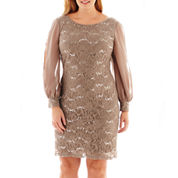 Scarlett Long-Sleeve Lace and Chiffon Dress - Plus