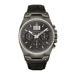 Wittnauer® Mens Crystal-Accent Gunmetal Dial Black Leather Strap Watch WN1012