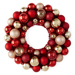 North Pole Trading Co. Red and Gold Ornament Wreath
