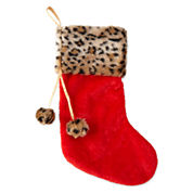 North Pole Trading Co. Red & Animal Print Stocking