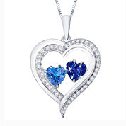 Love in Motion™ Love In Motion Lab-Created Blue And White Sapphire Sterling Silver Pendant