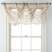 JCPenney Home™ Arbor Leaf Grommet-Top Sheer Waterfall Valance