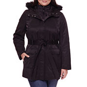 a.n.a® Long-Sleeve Faux-Fur Trim Belted Parka - Plus