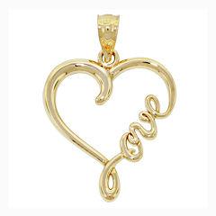 14K Yellow Gold Love Heart Charm Pendant
