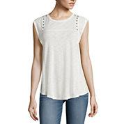 a.n.a® Short Flutter-Sleeve Studded-Yoke Pullover Top - Tall