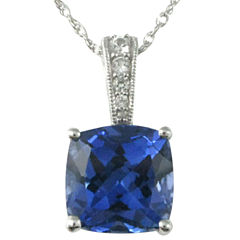Lab-Created Ceylon Blue & White Sapphire Pendant Necklace