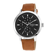 Armitron® All Sport® Mens Black Dial Brown Leather Strap Chronograph Watch