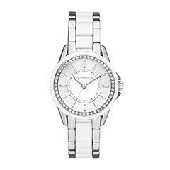 Liz Claiborne® Womens Silver-Tone & White Crystal-Accent Watch