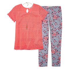 SE Short-Sleeve Crochet Top Legging Set w/ Necklace - Girls' 7-16 and Plus